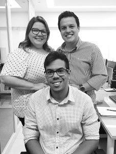 Thyago Amaral, Luciana Morais e Igor Santos.
